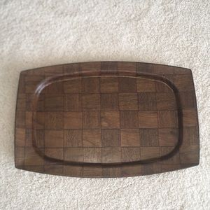 Mid Century Modern Woven Walnut Wood Sizzle Tray